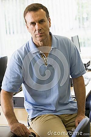 Teacher in a computer lab
