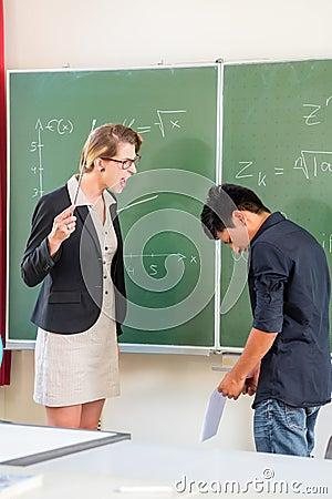 Teacher criticizing a pupil in school class
