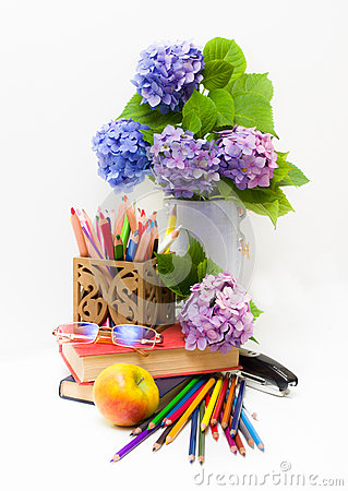 Teacher Day.Bouquet of flowers hydrangeas and scho