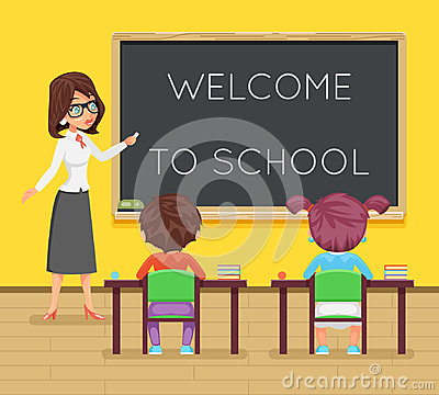 Free Teacher Female Study Pupil Student Sit Class Table Desk Education Lesson Child Character Icon Classroom School Board Royalty Free Stock Image - 96515926