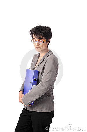 Teacher with files in her arms