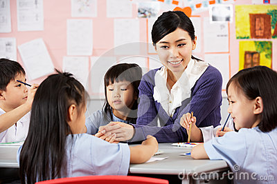Teacher Helping Students During Art Class