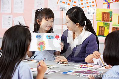 Teacher Helping Students In Chinese School