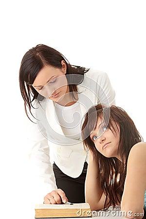Teacher Helping teen Student