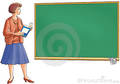 The teacher holds the book