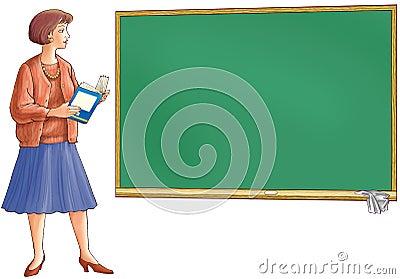 The teacher holds the book