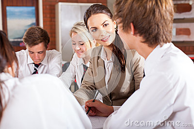 Teacher interacting with students