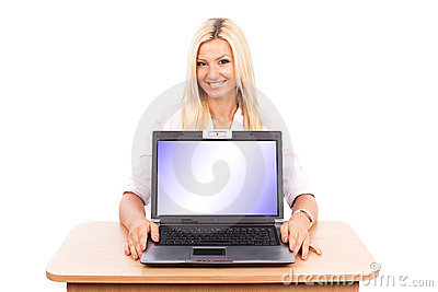 Teacher lady showing laptop screen