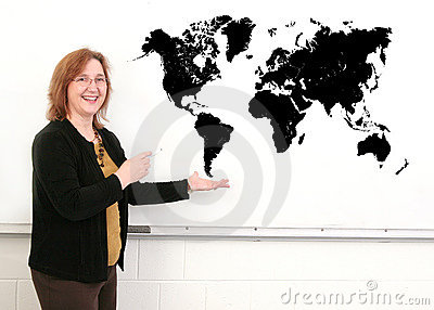 Teacher and map