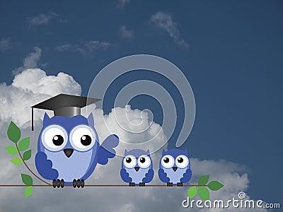 Teacher owl and pupils