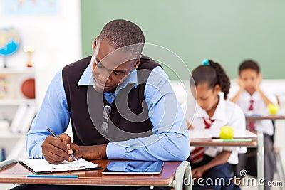 Teacher preparing lesson
