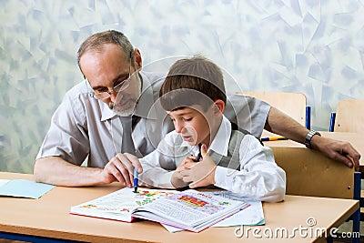 Teacher and schooboy