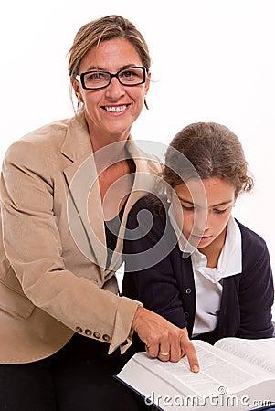 Teacher and schoolgirl