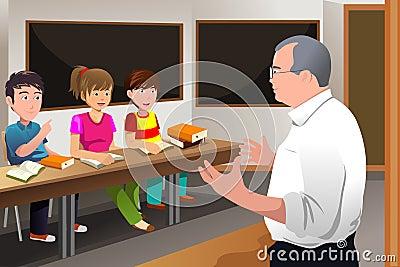 Teacher teaching college student