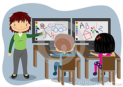 Teaching Computers Stock Vector - Image: 44455787