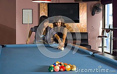 Teaching how to play pool
