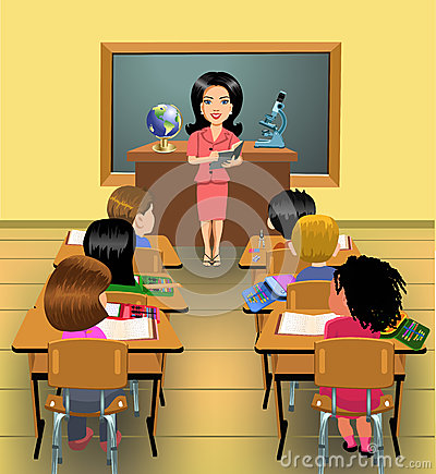 Teaching lesson in classroom