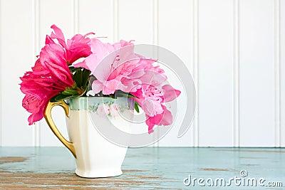 Teacup with azalea flowers