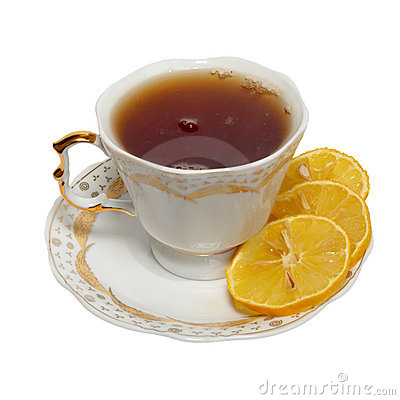 Teacup with tea and lemon