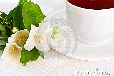 Teacup on white napkin.