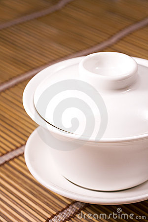 Teacup on wooden table