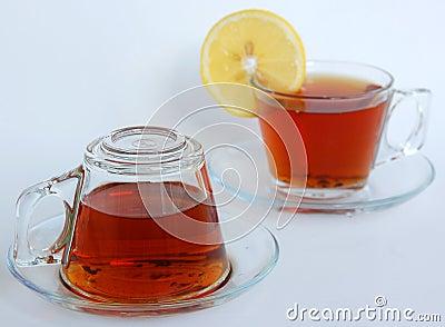 Teacups, one upside-down