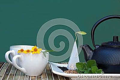 Teacups and teapot