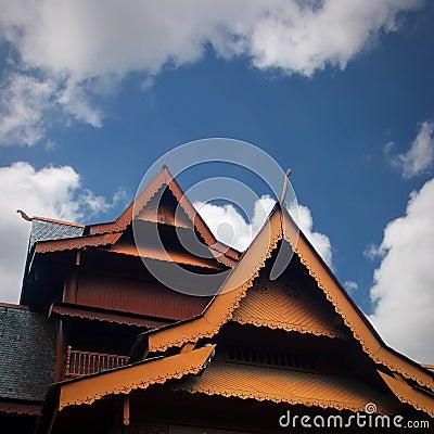Teak house roof