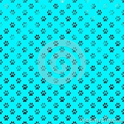 Free Teal Blue Dog Paw Metallic Foil Polka Dot Paws Background Royalty Free Stock Photography - 66964987