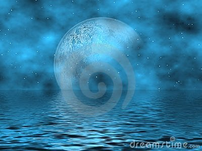 Teal Blue Moon & Water
