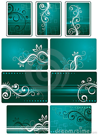 Teal green background set
