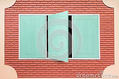 Teal wooden window