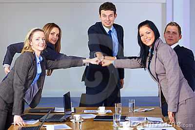 Team of 5 business people, teamwork concept