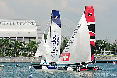 Team Aberdeen Singapore racing Alinghi at Extreme Sailing Series Singapore 2013 Editorial Image