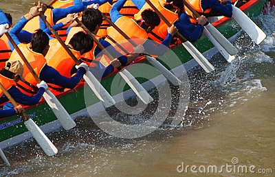 Team building activity, rowing dragon boat race