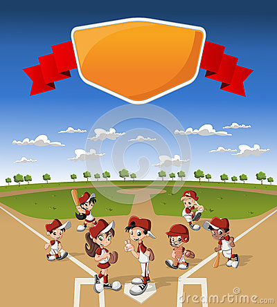 Team of cartoon children playing baseball