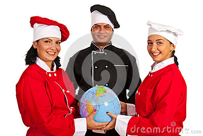 Team of chefs holding world globe