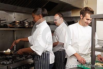 Team Of Chefs Preparing Food