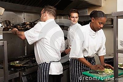 Team Of Chefs Preparing Food In Restaurant Kitchen