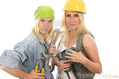 team contractor  ladies with tools