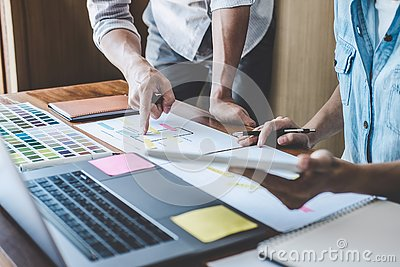 Team of Creative Web/Graphic Designer planning, drawing website ux app for mobile phone application and development template Stock Photo