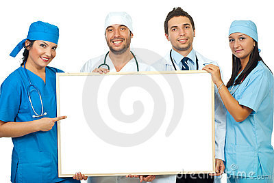 Team Of Doctors With Blank Banner Stock Image - Image: 16376931