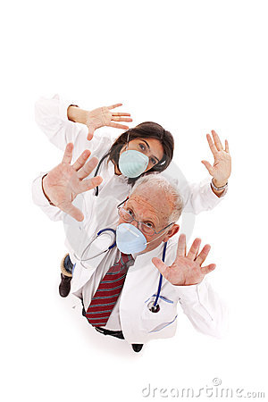 Team doctors with a mask