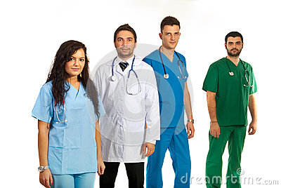 Team of four doctors