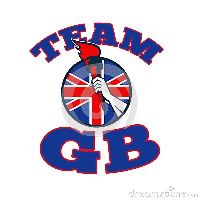 Team GB Hand Holding Torch Great Britain Flag