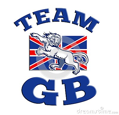 Team GB Lion attacking GB British union jack flag