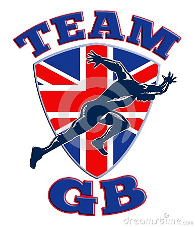 Team GB Runner Sprinter Great Britain Flag