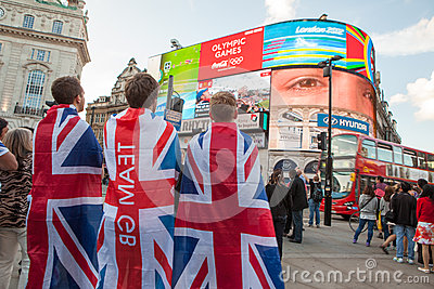 Team GB Supporters at Piccadilly Circus Editorial Stock Image