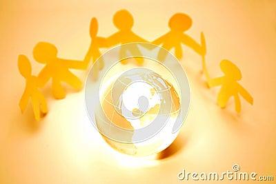 Team and globe