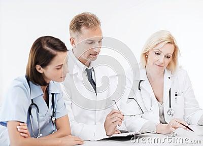 Team or group of doctors on meeting